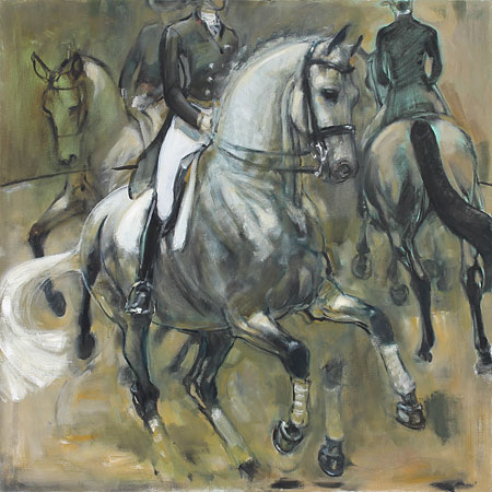 Rosemary Parcell nz fine art horse paintings, grey pirouette
